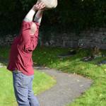 The ancient art of stone throwing at Efenechtyd Church / Hen draddodiad taflu carreg yn Eglwys Efenechtyd